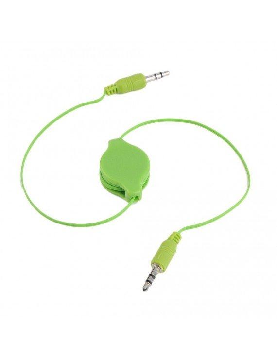 Cable AUX 3.5mm estéreo retráctil Verde
