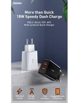 Baseus Speed Mini QC Dual USB Cargador 18W