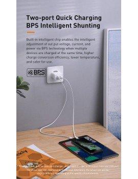 Baseus Speed Mini QC Dual U Quick Charger 18W White