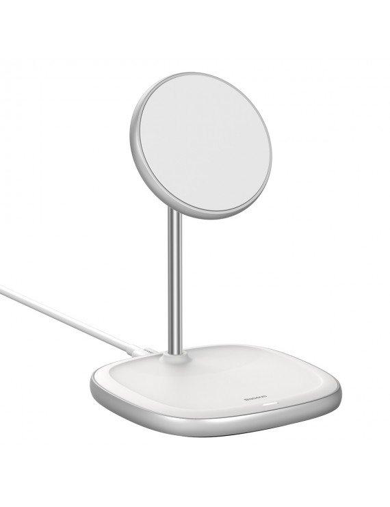 Baseus Swan Magnetic Desktop Bracket Wireless Charger (iPhone 12) White