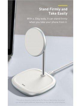 Baseus Cargador Inalámbrico con Soporte Magnético Escritorio (iPhone 12) Blanco